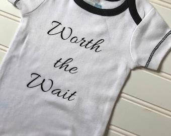 Worth the wait onesie, new baby, baby shower gift, gender neutral baby gift, new baby gift, baby shower, gender neutral onesie, boy onesie,