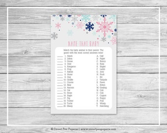 Winter Baby Shower Name That Baby Game - Printable Baby Shower Name That Baby Game - Baby It's Cold Outside Baby Shower - Baby Game - SP141