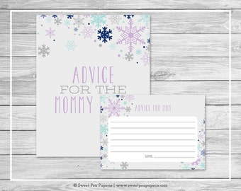 Winter Baby Shower Advice for Mom Cards - Printable Baby Shower Advice Cards - Baby It's Cold Outside Baby Shower - Advice for Mom - SP143