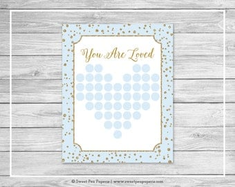 Blue and Gold Baby Shower Guest Book - Printable Baby Shower Guest Book - Blue and Gold Confetti Shower - Baby Shower Guest Book - SP146