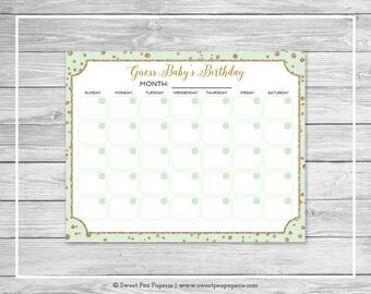 Mint and Gold Baby Shower Guess Baby's Birthday - Printable Baby Shower Guess Baby's Birthday Game - Mint and Gold Baby Shower - SP147