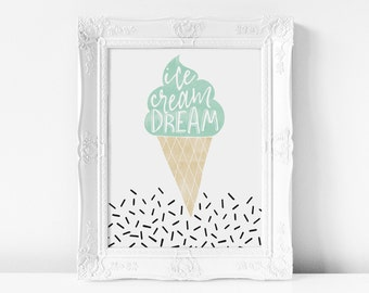 Ice Cream Dream Printable | DIY Wall Art, Ice Cream, Sprinkles, Mint, Nursery, Wall Decor, Nursery Art, Nursery Print, Watercolor