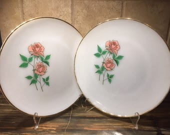 FireKing rose plates - vintage dishes