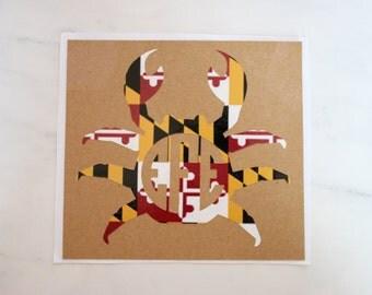 Maryland Crab Monogram Sticker || MD Crab Sticker || Crab Vinyl Decal || Monogram Crab