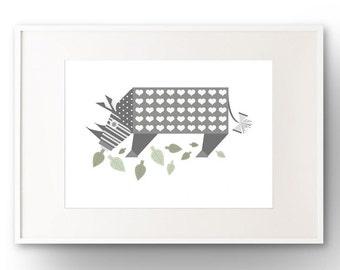 A3 Rhino Art Print