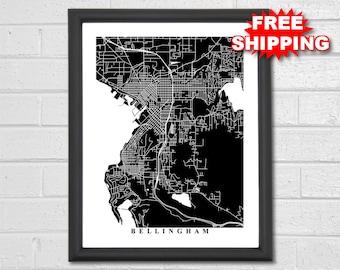 Bellingham Map Art - Black and White - Washington - Custom Map - Map Art - Travel - Hometown - Gift - Custom - Travel - Housewarming
