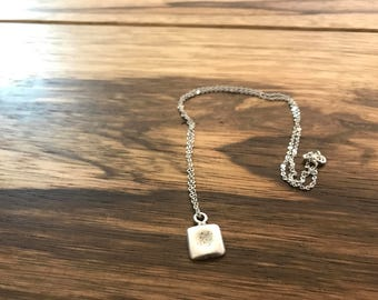 Authentic rustic sterling silver square pendant charm necklace