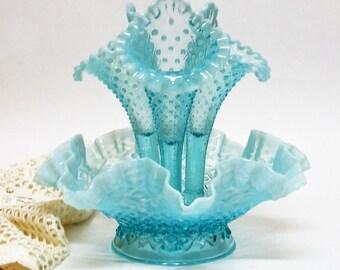 Fenton Diamond Lace  Epergne 3 Horns