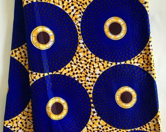 African Print Fabric/ Ankara - Blue & Orange 'Bullseye' Design, YARD or WHOLESALE