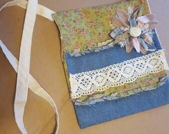 Shabby Chic Messenger Bag Cross body Bag Denim and Lace Bogota Bag Tablet Carry Bag