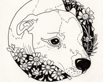 pitbull & chamomile flowers 5x6.5 inch ink line drawing circle