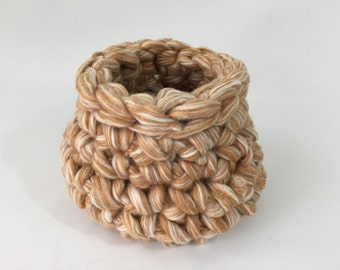 Wool Fiber Tan and Cream Newborn Photo Prop Honey Pot Finger Crochet Basket