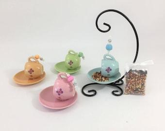 Mini tea cup and saucer bird feeder repurposed childrens tea set