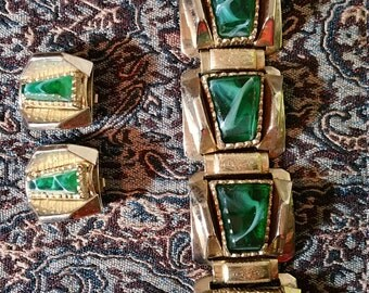 Art Deco Style Chunky Bracelet and Clip Earing Set