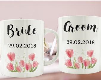 Floral Watercolour Wedding Mugs Set, Wedding Couples Mugs Sets, Bridesmaid Mug Gift, Mr & Mrs Mugs, Married Couples Mugs, Wedding Party Mugs