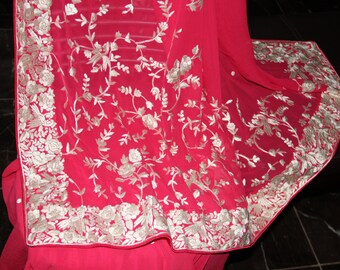 Pink Hand Embroidered Parsi gara saree with love birds motifs and dots all over on pure Georgette Brand New~Free Shipping