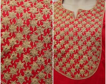 Marodiwork~Kasab Handwork on Red Chanderi Kurti with Golden Leggings~ Free Shipping