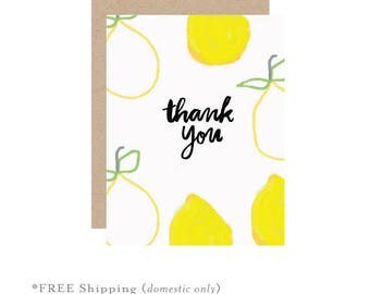 Thank you card, lemon thank you card, lemon card, yellow lemon card, fresh card, fruit card, thank you greetings, lemon greeting card, lemon