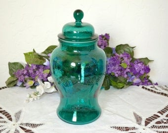 Vintage Green Apothecary Jar With Textured Glass