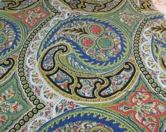 """Fabric, Vintage Paisley Fabric, Multi-colors, 70's Print, Cotton Blend or Rayon 36"""" Wide x 42"""" Long"""
