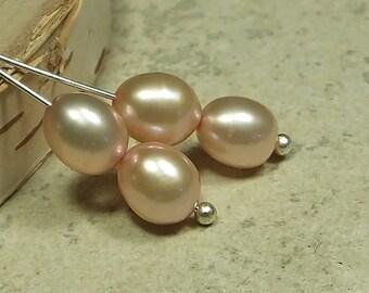 Yummy Apricot Freshwater Teardrop Pearls, Four