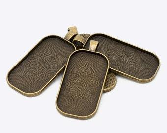 10x Antique Bronze 25mm x 50mm Rectangular Pendant Fob Blanks