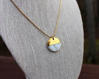 Gold dipped mother of pearl pendant necklace with gold plated snake chain~ Minimalist beach lover gift idea!