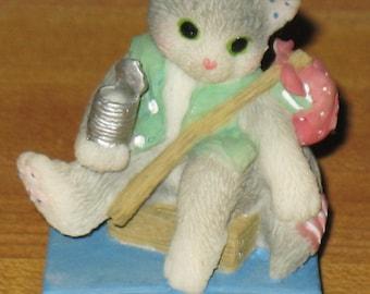 enesco calico kitten's mini stray cat nwob