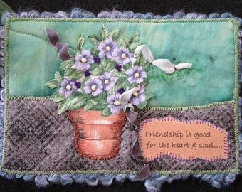 Friendship Fabric Postcard, Quilted Handmade Card, Purple Flower Card, Gift for Friend, Fiber Art Card, 6 x 4