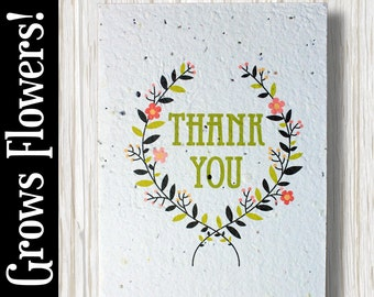 """GROWS WILDFLOWERS! - """"Thank you"""" - Plant the Card - 100% recycled - #TY005"""