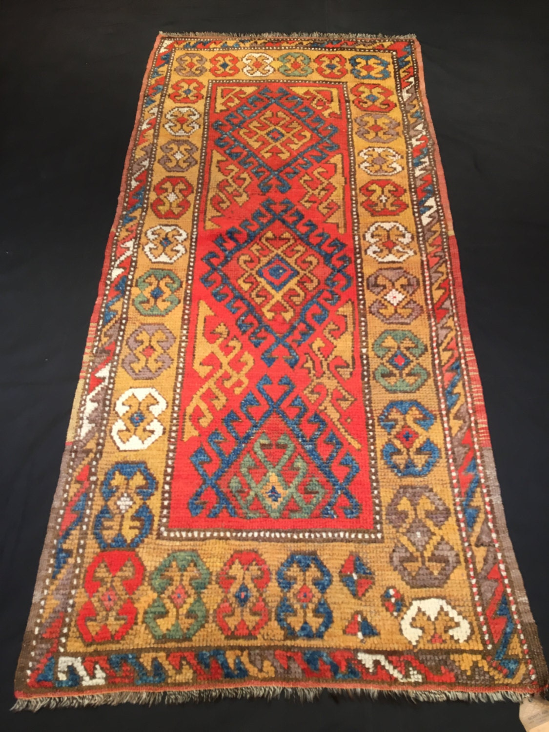 Vintage Warm Colors Turkish Rug Konya Pile Rug