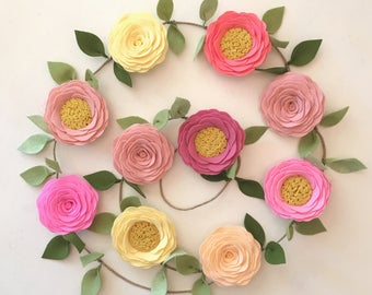 ROSE GARLAND // Felt Flower Garland // Floral Garland // Nursery Decor // Garden Party //  You Pick Custom Colors