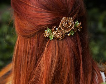 Floral Hair Clip Crystal Hair Clip Large Hair Barrette Crystal Barrette Flower Hair Clip Diamante Hair Clip Brown Rhinestone Hair Clip