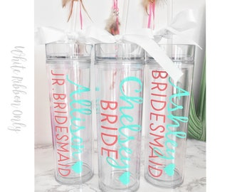 11 Custom skinny tumblers, bridal set, personalized cups, bridal shower gift, wedding gift, wedding favors, bridesmaids gift, wedding cup