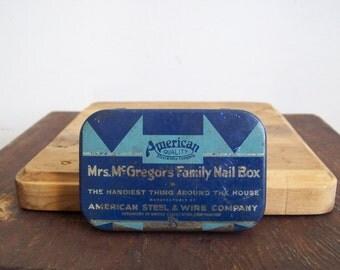 Antique tin Mrs McGregors Family Nail box Free shipping to USA small storage tin