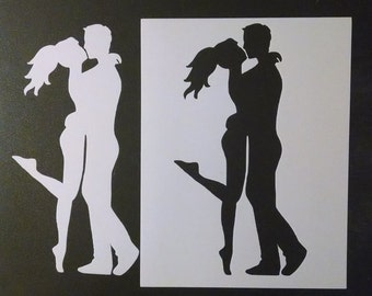 Man Woman Kissing Kiss Love Custom Stencil FAST FREE SHIPPING