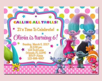 Trolls Birthday Invitation, Trolls Invitation, Trolls Invite, Printable Digital File