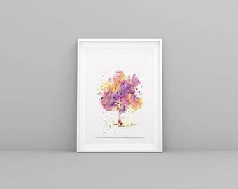 Spring tree illustration - Watercolor - handmade