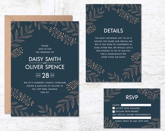 Royal Blue Wedding Invitation Template, Navy Blue Wedding Invitations, Wedding Invitation Printable, Floral Wedding Invite, Vintage Wedding