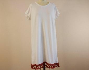 White Short Sleeve Shift Dress with Tassel Trim