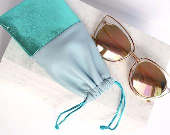 Blue Leather Sunglasses Bag // Sunglasses Sleeve // Glasses Pouch // Leather Glasses Case / Small Leather Bag / Sunglasses Holder