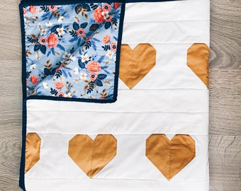 Modern Quilt - Heart Quilt  - Minimalist Quilt - Made to Order - Baby Girl Quilt- Yellow Quilt - Floral Quilt