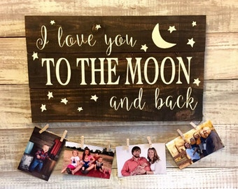 I love you to the moon and back, rustic, LOVE, hand painted wood sign, gift Mother's Day gift, gift for grandma, grandparents gift