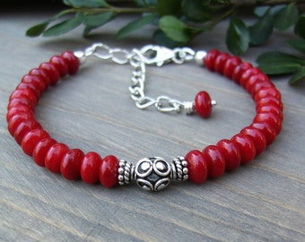 Red Coral Bracelet, Bali Sterling Silver, Coral Beads, Classic Design, Casual, Minimalist, Layering, Southwest Style, Trendy, Gift Idea