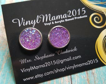 Lilac Faux Druzy Earrings - Druzy Stud Earrings - Druzy Studs - Country Girl Earrings - Bridesmaid Gift - Gifts For Her