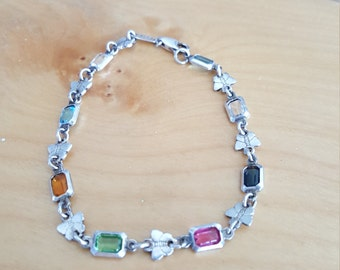 Sterling silver bracelet with multiple colors