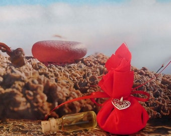 RED Mojo Gris Gris Bag w/ Oil Blend, Anointing Oil, Gris Gris Oil ~ The Beach Witch Oils