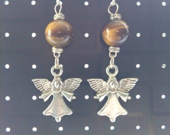 Diamante Tiger's Eye Angel Earrings