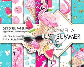 Summer Digital Paper Pink Flamingo Paper Watermelon Ice-Cream Paper Beach Patterns Watercolor Fruits Seamless Paper Glitter Planner Stickers