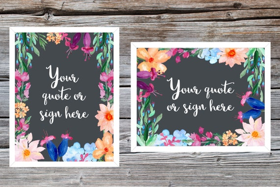 Customised bright floral chalkboard sign